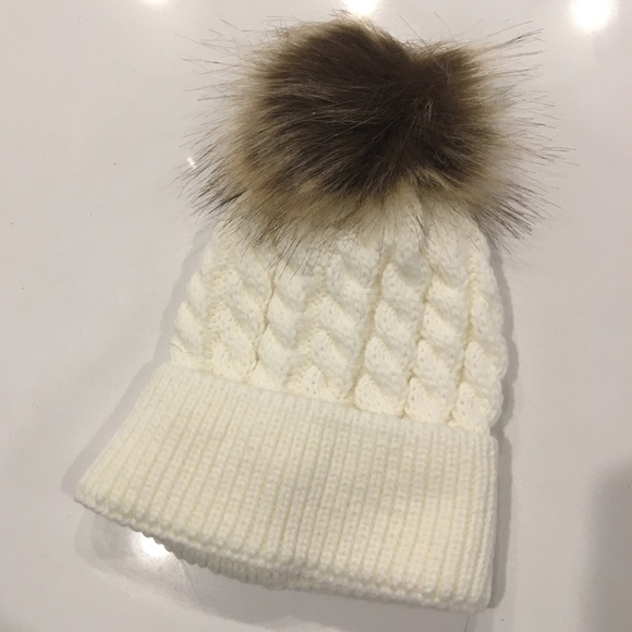 f1a879874 Baby Pom Pom cable knit cream winter hat Boutique